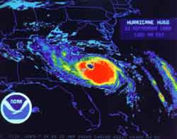 Hurricane Hugo graphic - Charleston, SC - weather report