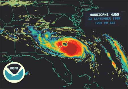 Hurricane Hugo infrared from NOAA.org